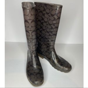 AUTHENTIC COACH RAIN BOOTS GREY PRELOVED 11